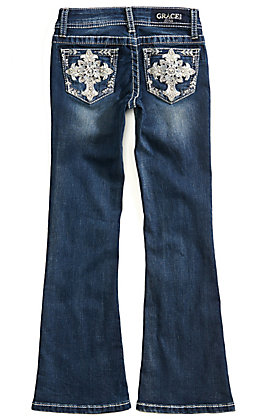 Grace in LA Girls Fleur de Lis Cross Medium Wash Boot Cut Jeans (7-16)