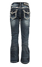 Grace in LA Girl's Faded Medium Wash with Gold and Blue Edge Stitching and Rhinestones Flap Pocket Boot Cut Jeans