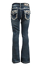 Grace in LA Girl's Dark Wash with Cream and Gold Thick Stitching Flap Back Pocket Boot Cut Jeans