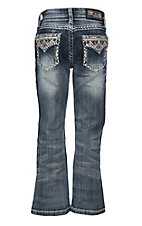 Grace in LA Girls Aztec Stitched Pocket Boot Cut Jeans