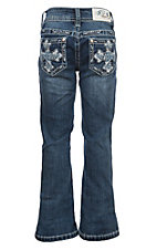 Grace in LA Girls' Medium Wash Embroidered Cross Pocket Boot Cut Jeans