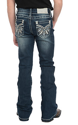 Grace in LA Girls Feather Embroidered Faux Flap Pocket Boot Cut Jeans