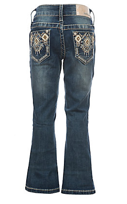Grace in LA Girls Diamond Aztec Open Pocket Boot Cut Jeans