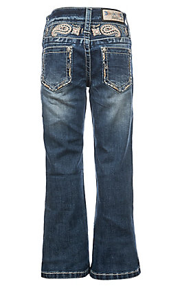 Grace in LA Girls Paisley Yoke-Detail Bootcut Jeans