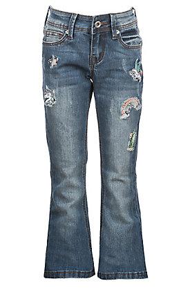 Grace in LA Girls' Unicorn Patch Jeans