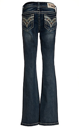 Grace in LA Girls Medium Wash with Chevron Embroidery Boot Cut Jeans