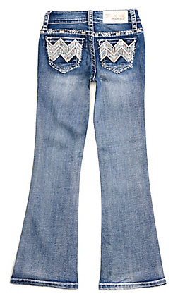 Grace in LA Girls' Medium Wash with Chevron Embroidery and Bling Boot Cut Jeans