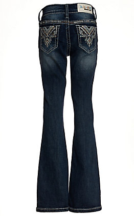 Grace in LA Girls Medium Wash with Aztec Embroidery Boot Cut Jeans