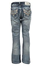 Grace in LA Girl's Medium Wash with Colorful Aztec Chevron Design Boot Cut Jean