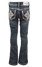 Grace in LA Girl's Dark Wash with Thick Stitch Colorful Cross Embroidery on Back Boot Cut Jeans