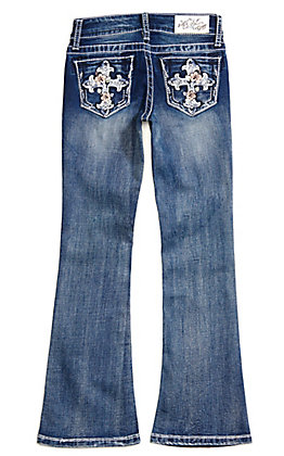 Grace in LA Girls' Floral Cross Boot Cut Jeans