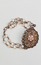Ashlyn Rose Bronze Chain and Crystal Beads with Oval Pendant and Rose Bracelet