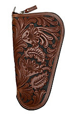 Ranger Belt Company Brown & Black Medium Pistol Case with Fancy Embossed Leather