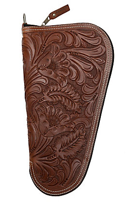 Ranger Belt Company Cognac Medium Pistol Case with Fancy Embossed Leather