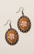Grace & Emma Oval Crystal with Centered Rose Earrings