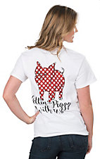 Girlie Girl Originals Women's White Getting Piggy With It Screen Print Short Sleeve T-Shirt
