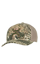 HOOey Game Guard Camo with Khaki Back Green Logo Flex Fit Cap