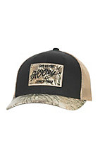 HOOey Black with Camo Vintage Patch Logo and Tan Mesh Back Snap Back Cap