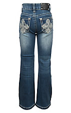 Wired Heart Girls Cross Embroidered Crystal Boot Cut Jeans