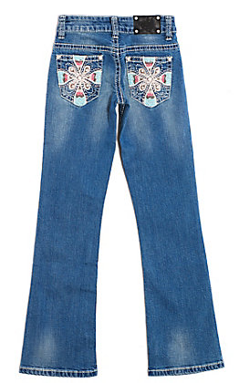 Wired Heart Girls Medium Wash Floral Embroidered Pocket Boot Cut Jeans