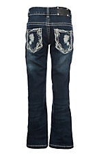 Wired Heart Girls Dark Wash Embroidery Boot Cut Jeans