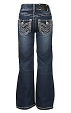 Wired Heart Girl's Medium Wash with Blue and White Embroidered Open Back Pocket Boot Cut Jeans