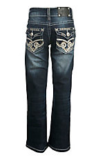 Wired Heart Girl's Faded Dark Wash with White and Tan Embroidered Flap Back Pocket Boot Cut Jeans