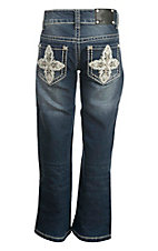 Wired Heart Girl's Faded Dark Wash with White and Tan Cross Embroidered Open Back Pocket Boot Cut Jeans