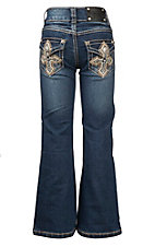 Wired Heart Medium Wash with Tan Cross Embroidery Flap Pocket Boot Cut Jeans
