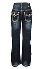 Wired Heart Dark Wash with Ivory Thick Stitch and Rhinestone Accents Flap Pocket Boot Cut Jeans
