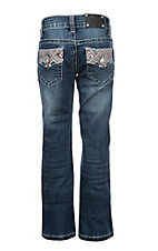 Wired Heart Girls Pink & White Criss Cross Faux Flap Pocket Boot Cut Jeans