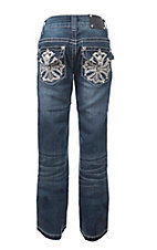 Wired Heart Girl's Medium Wash with Cross Embroidered on Flap Pockets Boot Cut Jeans