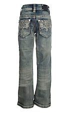 Wired Heart Girls Light with Aztec and Tan Stitching Boot Cut Jeans