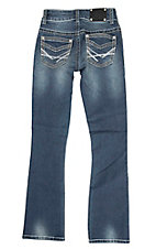 Wired Heart Girl's Medium Wash with Open Pockets Boot Cut Jeans