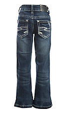 Wired Heart Girl's Dark Wash Zig Zag Boot Cut Jeans