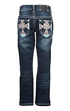 Wired Heart Girls Pink and Blue Cross Boot Cut Jeans