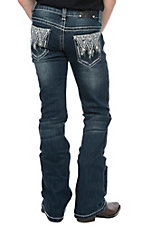 Wired Heart Girls Heavy Stitch Blue and White Crystal Embroidered Boot Cut Jeans