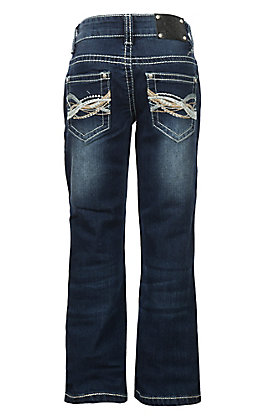 Wired Heart Girls Crystal Embroidered Open Pocket Boot Cut Jeans