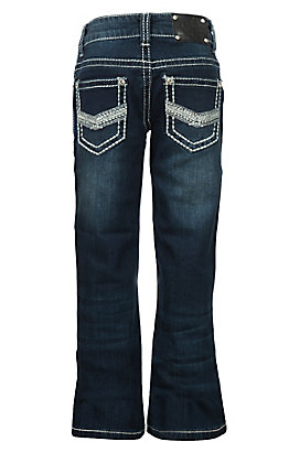 Wired Heart Girls Heavy Stitch Crystal Embroidered Boot Cut Jeans