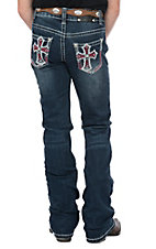 Wired Heart Girls Heavy Stitch Pink Cross Crystal Embroidered Boot Cut Jeans