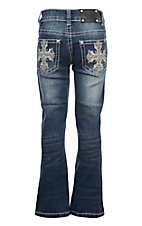 Wired Heart Girls Dark Wash Embroidered Cross w/ Crystals Boot Cut Jeans
