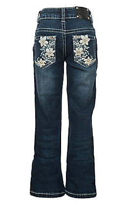 Wired Heart Girls White Leather Flower Boot Cut Jeans