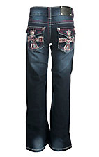 Wired Heart Girl's Faded Dark Wash with White and Pink Embroidered Cross Flap Back Pocket Boot Cut Jeans