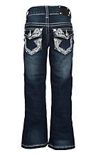 Wired Heart Girls Heavy Rose Stitched Edges with Crystals Boot Cut Jeans