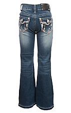 Wired Heart Girl's White and Pink Stitch Medium Wash Boot Cut Jeans