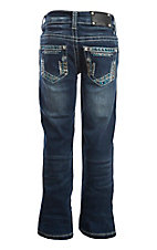 Wired Heart Girl's Dark Wash with Heavy Stitching and Embellished Open Pockets Jeans