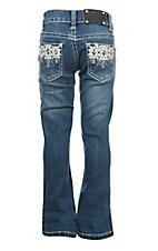 Wired Heart Aztec White Leather Pocket Boot Cut Jeans