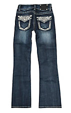 Wired Heart Girl's Dark Wash with Silver Stitching and Sequins Flap Pocket Boot Cut Jeans