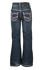 Wired Heart Women's Medium Wash with Pink and White Zig Zag Embroidered Open Pocket Boot Cut Jeans