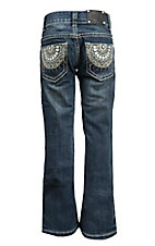 Wired Heart Girl's Medium Wash with Circle Embroidery Open Pocket Boot Cut Jeans